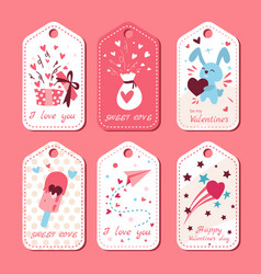pack love tags valentines labels set vector image