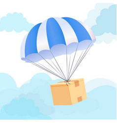 parachute box delivery concept send package vector image