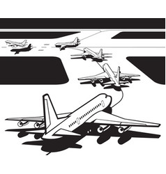 passenger airplanes waiting for take-off from airp vector image