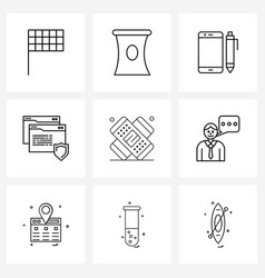 Pixel perfect set 9 line icons such as man vector