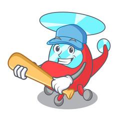 Playing baseball helicopter character cartoon vector