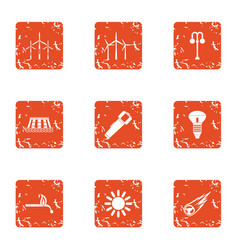 power supply unit icons set grunge style vector image