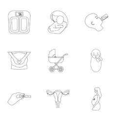 Pregnancy set icons in outline style Big vector