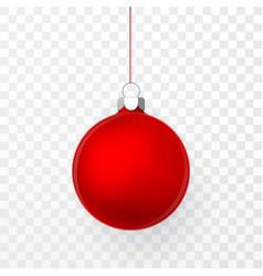 red christmas ball xmas glass ball on transparent vector image