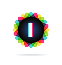 Retro bright colors Logotype Letter I vector