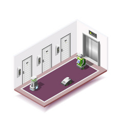 Robotized hotels isometric composition vector
