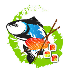 Salmon and sushi with fillets vector