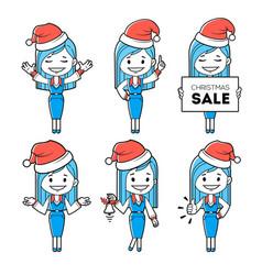 santa girl santa claus woman in red hats vector image
