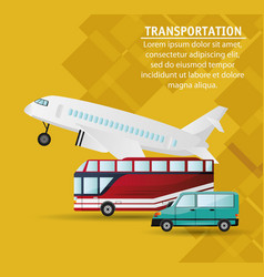 set different vehicles public transport vector image