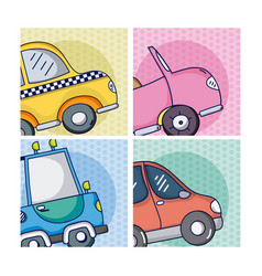 Set of cartoons vehicles on frames vector