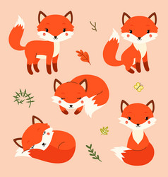 set of cute cartoon foxes in modern simple flat vector image