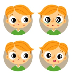 Set of four young boy emotions vector image