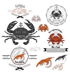 Set vintage seafood labels and design elements vector
