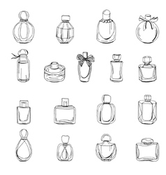 Set with bottles of woman perfume isolated on vector image