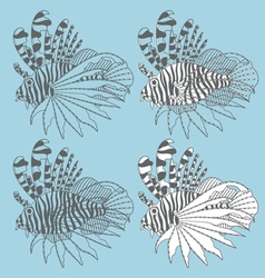 set with lionfish vector image