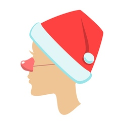Silhouette of female head santa hat vector