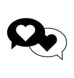 speech bubbles love hearts message romantic vector image