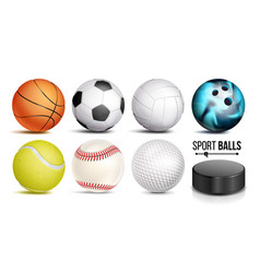 sport ball set 3d realistic popular vector image