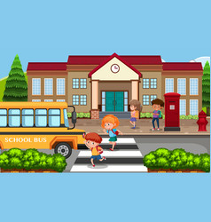 Students going to school by bus vector
