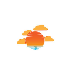sunset and clouds in beach logo design vector image