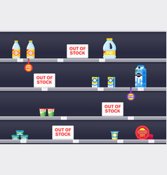 Supermarket shelf interior with sold out products vector