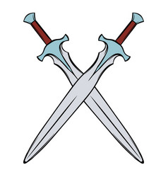swords crossed icon cartoon vector image
