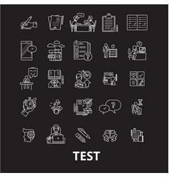 test editable line icons set on black vector image