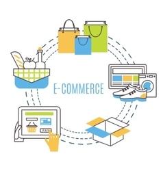 thin line e-commerce vector image vector image