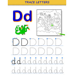 Tracing letter d for study alphabet printable vector