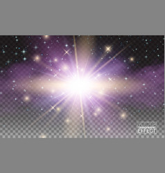 transparent magic light effect star burst sparkles vector image vector image