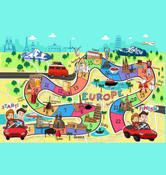 Travel board game design vector