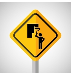 Under construction road sign paint wall vector