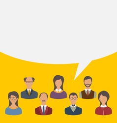 Unity of business people team with speech bubble vector