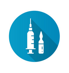 vaccine and syringe icon with long shadow for vector image