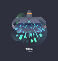 virtual reality headset icon vr vector image