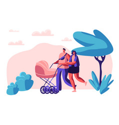 Walk family with baby stroller in park mother vector