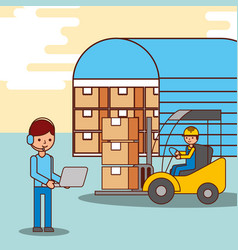 warehouse workers operator and driver forklift vector image