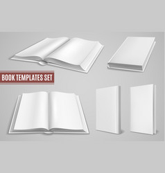 white book templates blank open book covers vector image