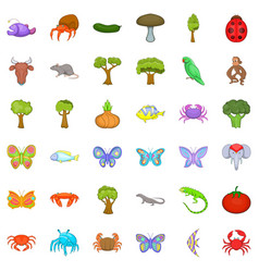 Wildlife icons set cartoon style vector
