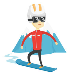 Young man snowboarding vector