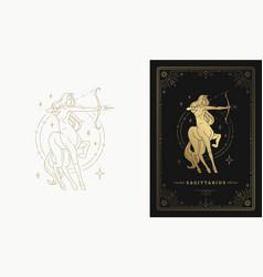 Zodiac sagittarius girl character horoscope sign vector