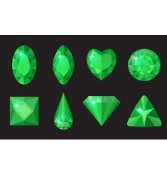 Green gems set Jewelry crystals collection vector image