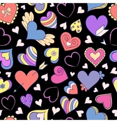 pattern with colorful hearts vector image vector image