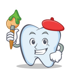 artist tooth character cartoon style vector image vector image