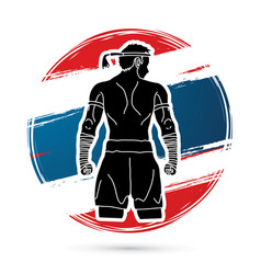 muay thai thai boxing sport pose vector image