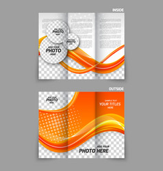 Orange tri-fold brochure vector image vector image
