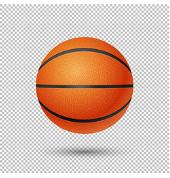 realistic flying basketball closeup vector image