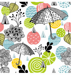 seamless pattern with spring time umbrellas vector image