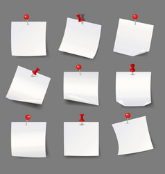white note papers with thumbtacks blank paper vector image vector image