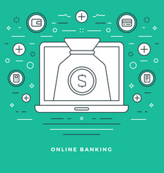 flat line banking and financial management concept vector image